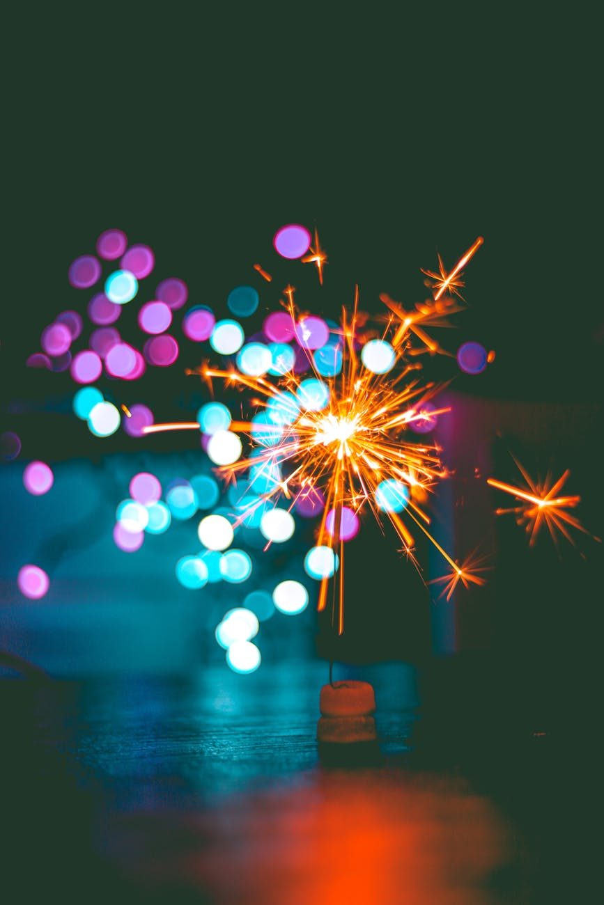 bokeh celebration macro sparklers
