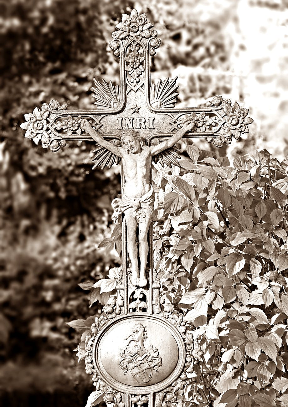 crucifix decor sepia photo